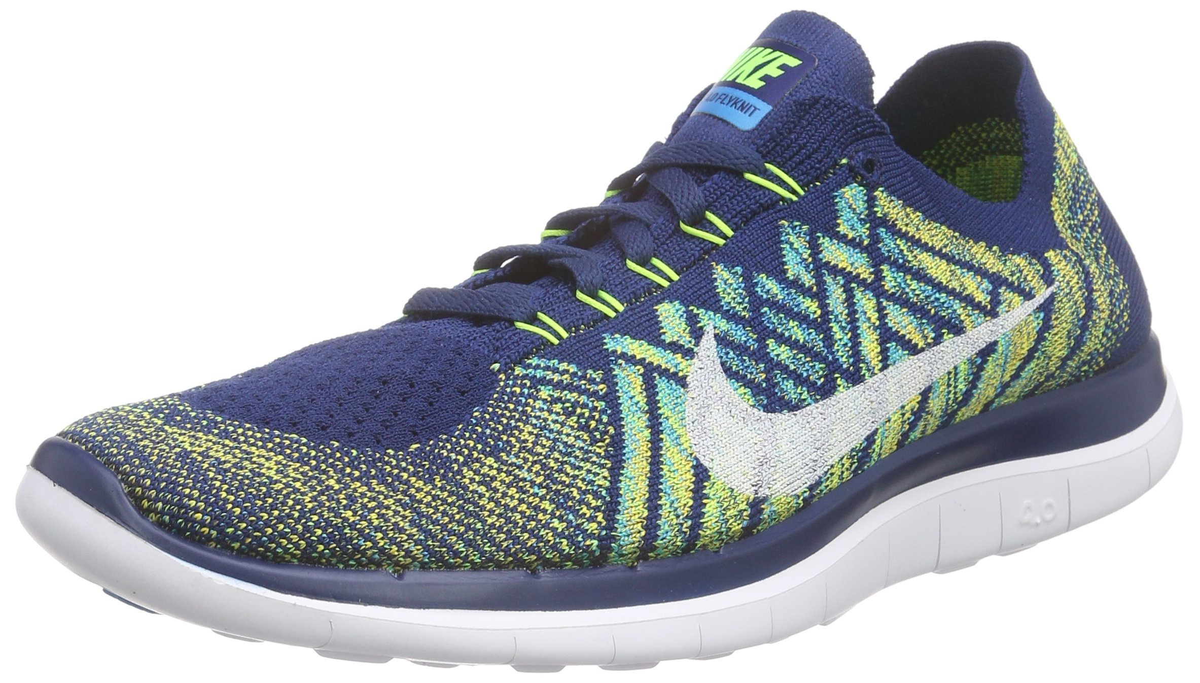 uk availability f680d f791b Galleon - Nike Free 4.0 Flyknit Men Round Toe Synthetic Running Shoe ,Brave  Blue, Black, Volt, White,10.5 D(M) US