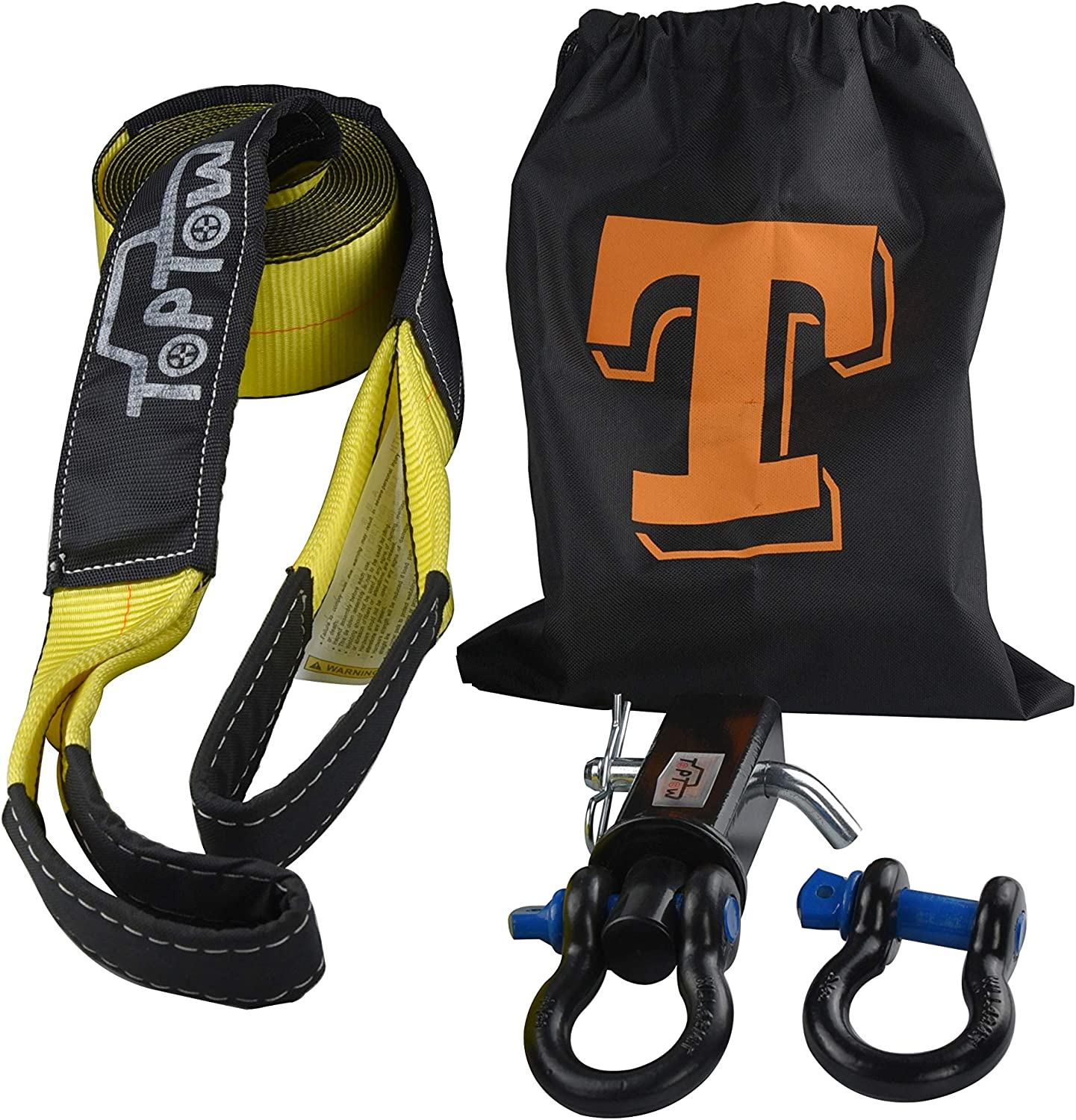Storage Bag Emergency Off Road Truck Accessories TOPTOW 63713 Tow Strap Recovery Kit- Swivel Recovery Shackle Hitch 2 Shank with Hitch Pin 3 X 20 Tow Strap 3//4 Bow Shackle 4.75T