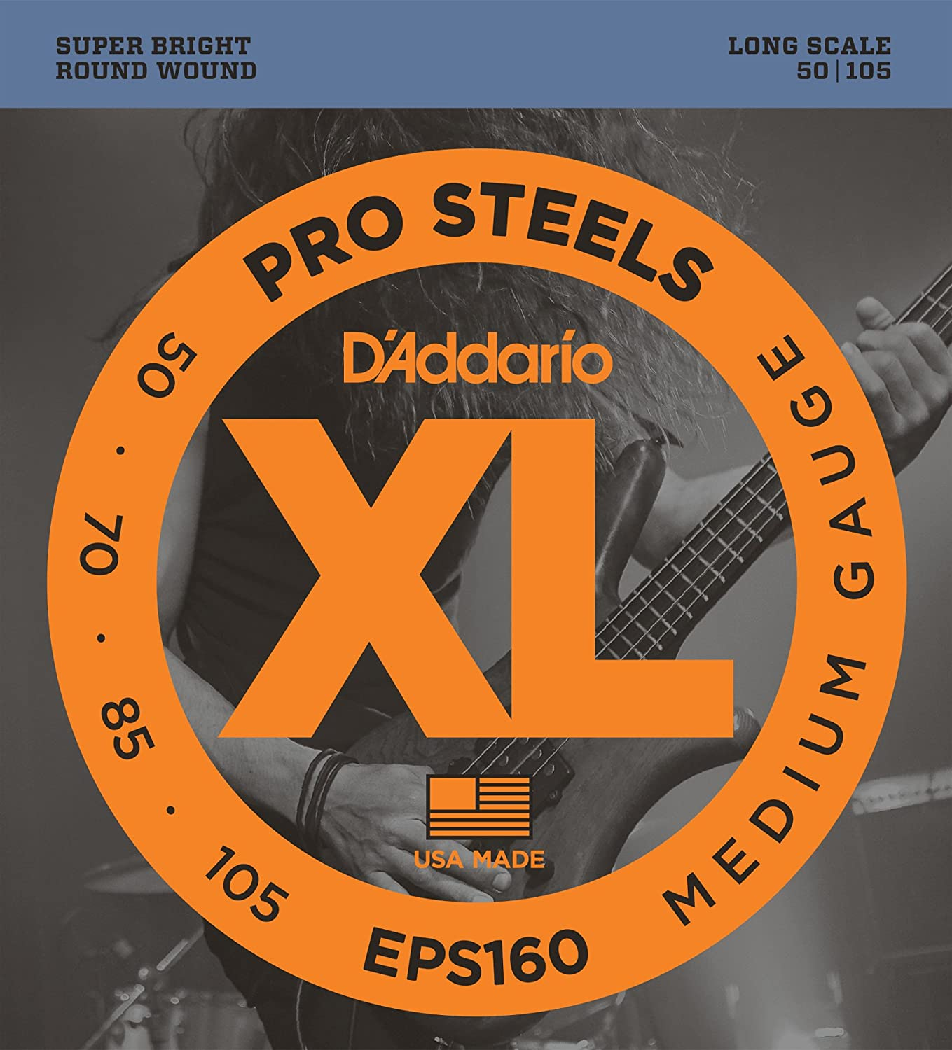 D'Addario EPS160 ProSteels Bass Guitar Strings, Medium, 50-105, Long Scale D'Addario &Co. Inc
