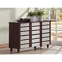 Baxton Studio Gisela Wood Wide Storage Cabinet (White and Medium Brown)