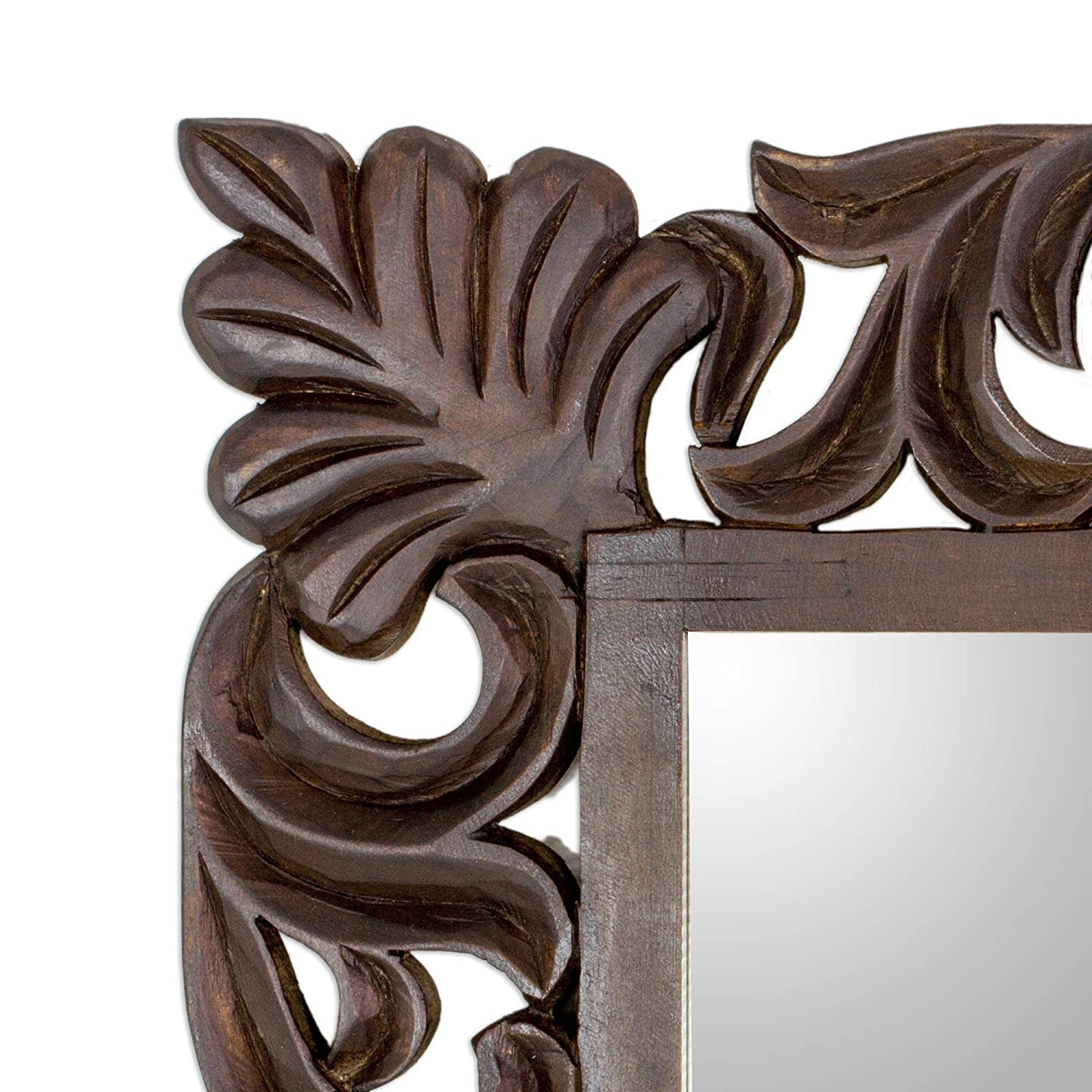 Moon Vines NOVICA Hand Carved Floral Wood Frame Wall Mounted Mirror