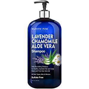 MAJESTIC PURE Lavender Chamomile Aloe Vera Shampoo - Cleansing, Hydrating, Nourishing, Sulfate Free - Daily Shampoo for Men and Women, All Hair Types - Promotes Scalp Health - 16 fl oz