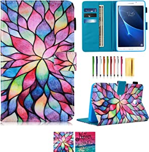 UUcovers Case for Samsung Galaxy Tab A 7.0 Inch Tablet 2016 (SM-T280/T285),with Pencil Holder PU leather Folio Stand Lightweight Soft TPU Back Shell with Stylus Slot Card Pockets Wallet, Rainbow Lotus