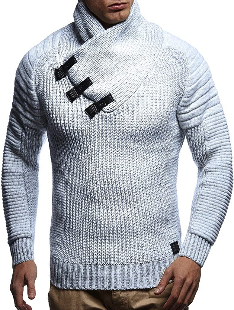 LEIF NELSON men's knitted pullover sweater hoodie jacket long sleeve slim fit 5225