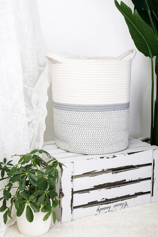 Goodpick Gro/ße Baumwolle Seil basket17.7 x 39 x13.7 baby W/äschekorb gewebte Decke Korb Kinderzimmer M/ülleimer