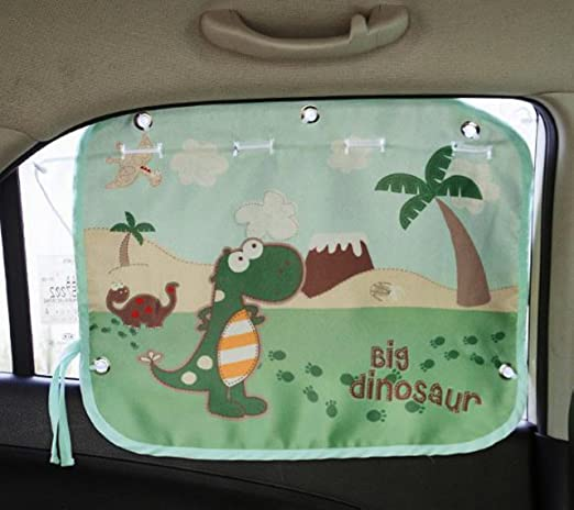 Tokkids Sunshade for car baby - Large Car Sunshade Protector - Blocks over 98% UV Rays Car Sun Visor Protector - Easy to Install (Dinosaur)