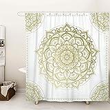 SUMGAR Boho Gold Mandala Shower Curtain for Bathroom Bohemian Flower Decoration Indian Floral Geometric Curtain Set with Hook
