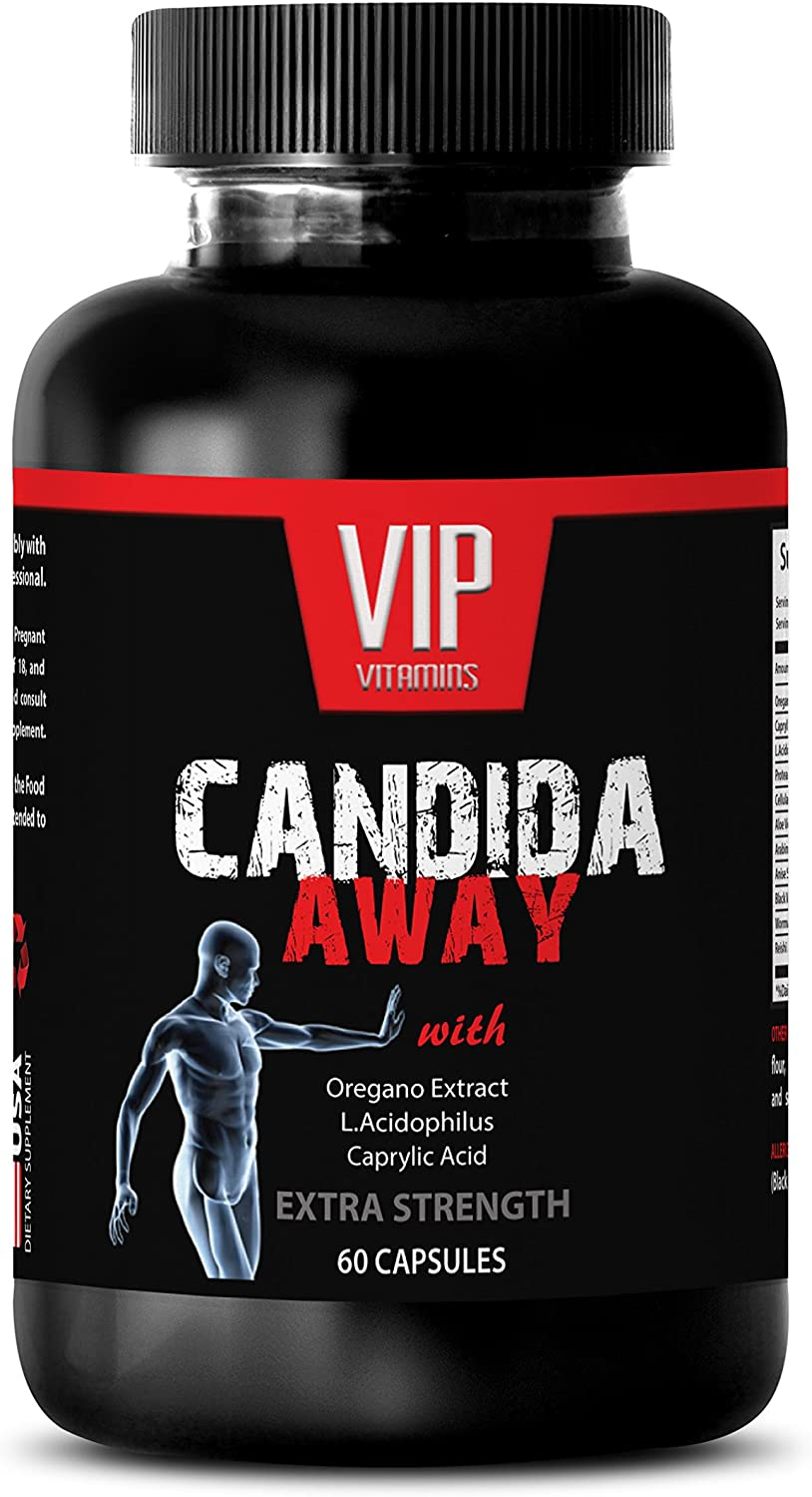 Natural detoxification Supplement - Candida Away Extra Strength Formula - Natural Solution - Digestive AID - Candida Vitamins - 1 Bottle 60 Capsules