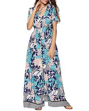 100% Cotton Long Boho Maxi Dress Party Evening Size 14 16 18 20 22 24 April Damenmode Kleider