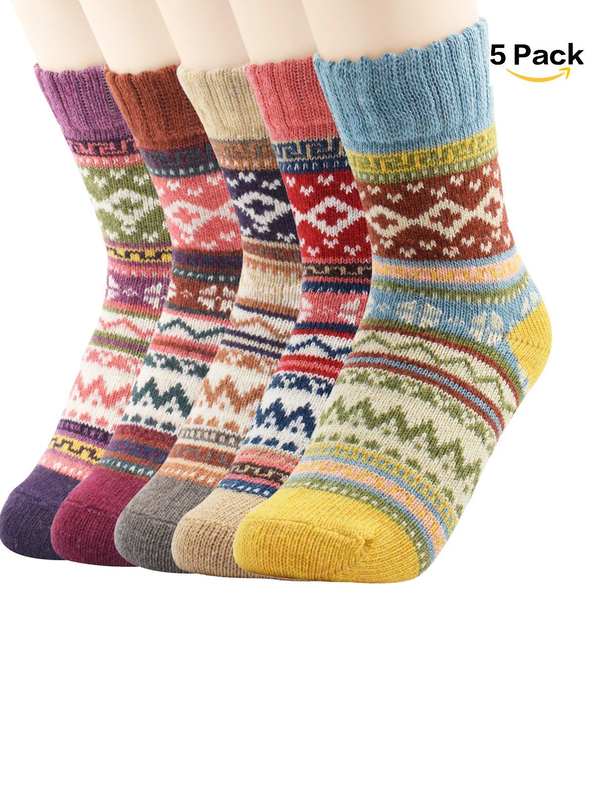 Zando Women Fashion Printed Thick Wool Knit Winter Casual Soft Warm Crew Socks Vintage Style 3-5 Pairs F 5 Pack-Diamond(1)