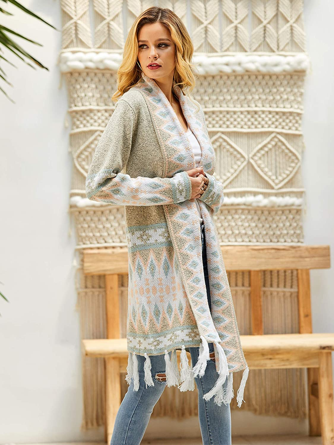 Ladies Colorful 1920s Sweaters and Cardigans History Misassy Womens Boho Open Front Long Cardigans Sweater Loose Long Sleeve Aztec Embroidery Tassels Kimono Duster Outwear $37.88 AT vintagedancer.com