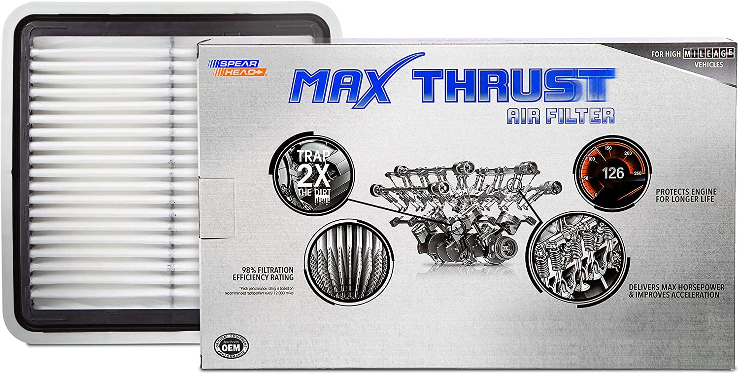 Spearhead MAX THRUST Performance Engine Air Filter For Low & High Mileage Vehicles - Increases Power & Improves Acceleration (MT-997)
