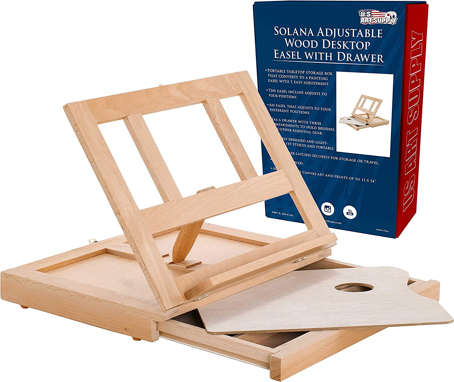 Suitable for Adults Sketching Adjustable Tabletop Easel Beech Wood Art Desktop Easel Portable Art Easel for Painting Children Drawing with Storage Drawer and 1 Paint Palette Beginners /& Artists