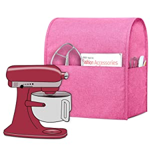 Luxja Dust Cover Compatible with 6-8 Quart KitchenAid Mixers, Cloth Cover with Pockets for KitchenAid Mixers and Extra Accessories (Compatible with All 6-8 Quart KitchenAid Mixers), Pink