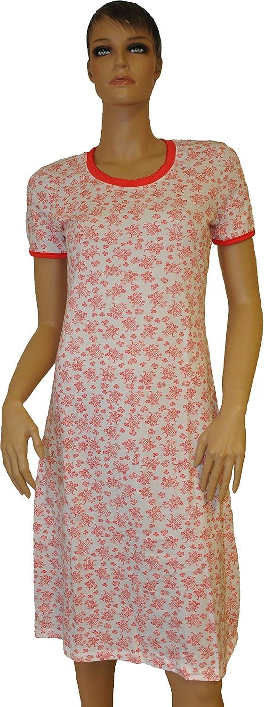 Negligee Nachthemd Mode für Damen weiß/rot aus Baumwolle