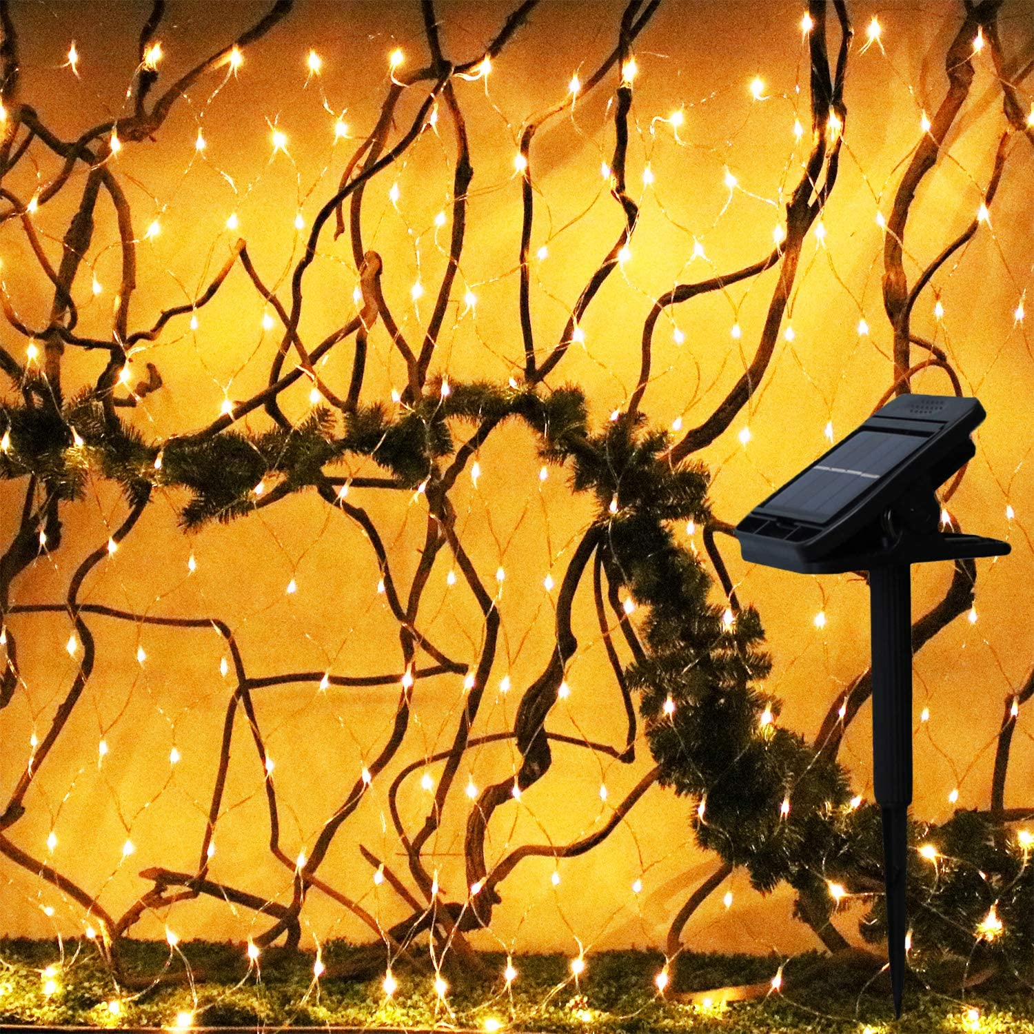 YAOZHOU Mesh Net Christmas Lights Solar Powered 8 Modes Warm White 9.8FtX6.6Ft 204LED Window Fairy Decor Lights for Christmas,Holiday,Party,Outdoor,Wedding,Garden(Warm White)