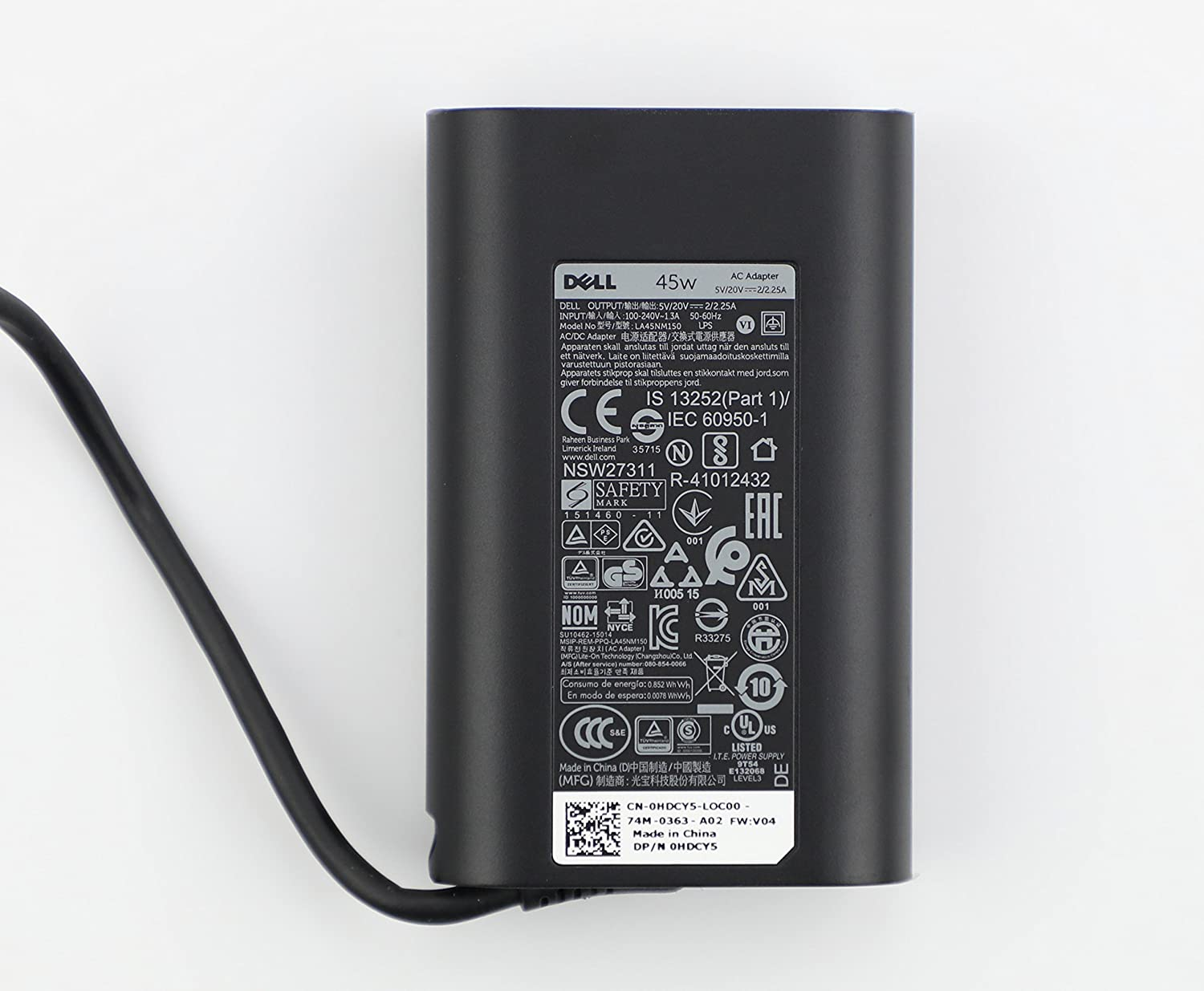 Dell 45W USB-C AC Adapter for Dell P/N: LA45NM150, HDCY5, 0HDCY5, DA30NM150, 8XTW5, 08XTW5, ADP-30CD BA, 24YNH, 492-BBSP, 5FX88, 470-ABSF. …