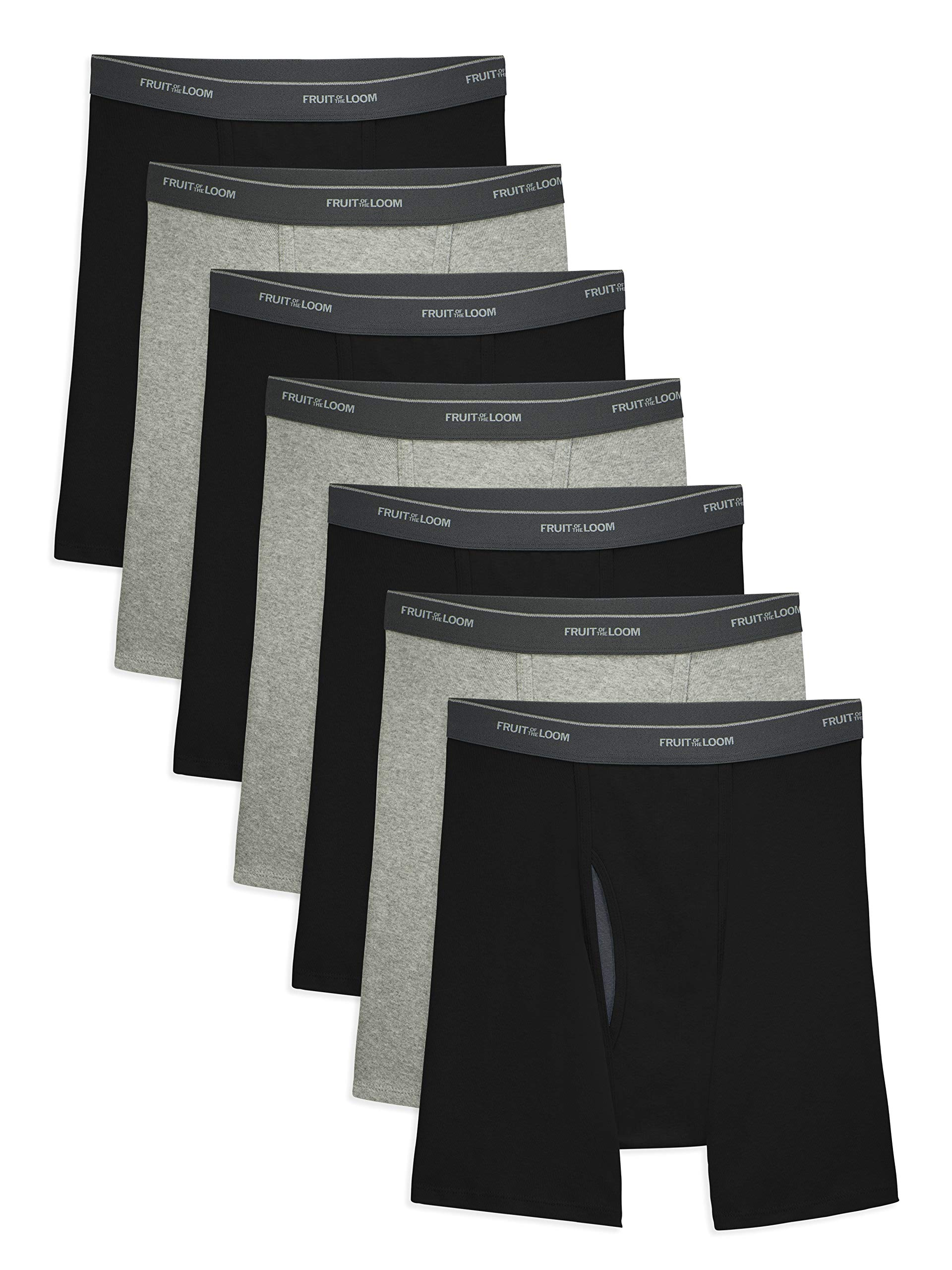 Fruit of the Loom Men's CoolZone Boxer Briefs, 7 Pack - Black/Gray, Large