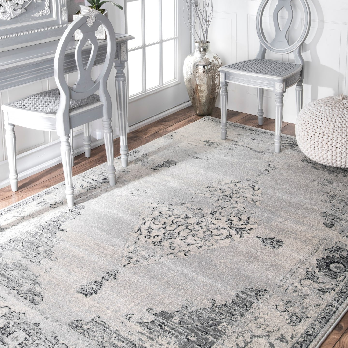 nuLOOM Sherrell Vintage Area Rug, 8 10 x 12 , Light Grey