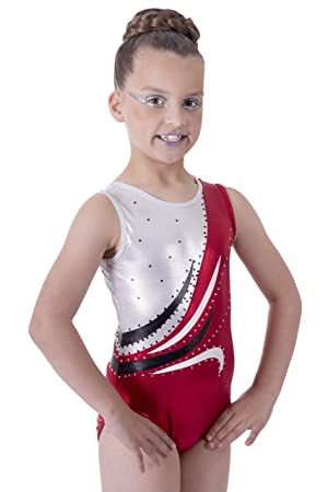 Deluxe Metallic Ruby Red and White with Wave encrusted Diamante detail  Sleeveless Gymnastic Leotard (5 5b5c7804d9e