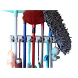 MARZ Mop and Broom Holder with 5 Slot Position and 6 Hooks Upto 11 Tools (Ivory, MHA1001)