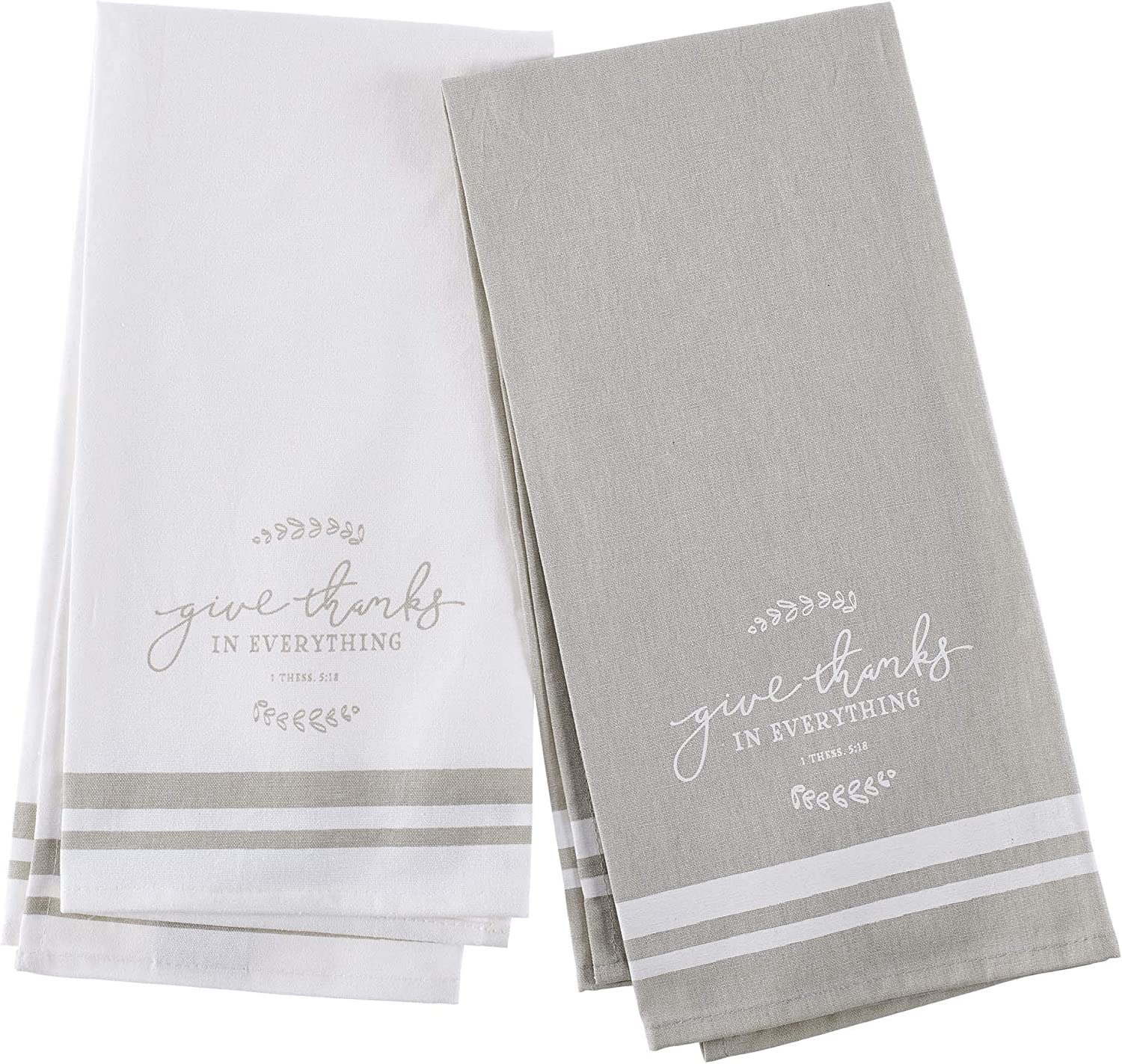 Christian Art Gifts Embroidered Kitchen Tea Towel Set   Give Thanks in Everthying   White/Taupe Flour Sack Cotton Dish Cloth, Give Thanks Collection, Set of 2 Tea Towels