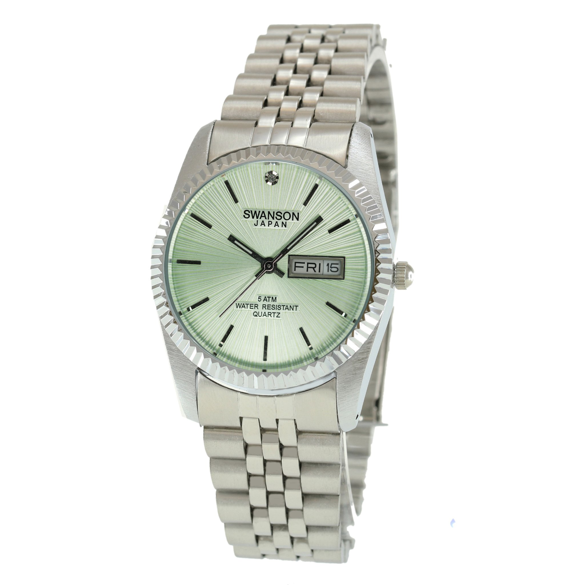 Swanson Japan Men's Silver Day-Date Ice Green Index Dial Watch with Travel Case