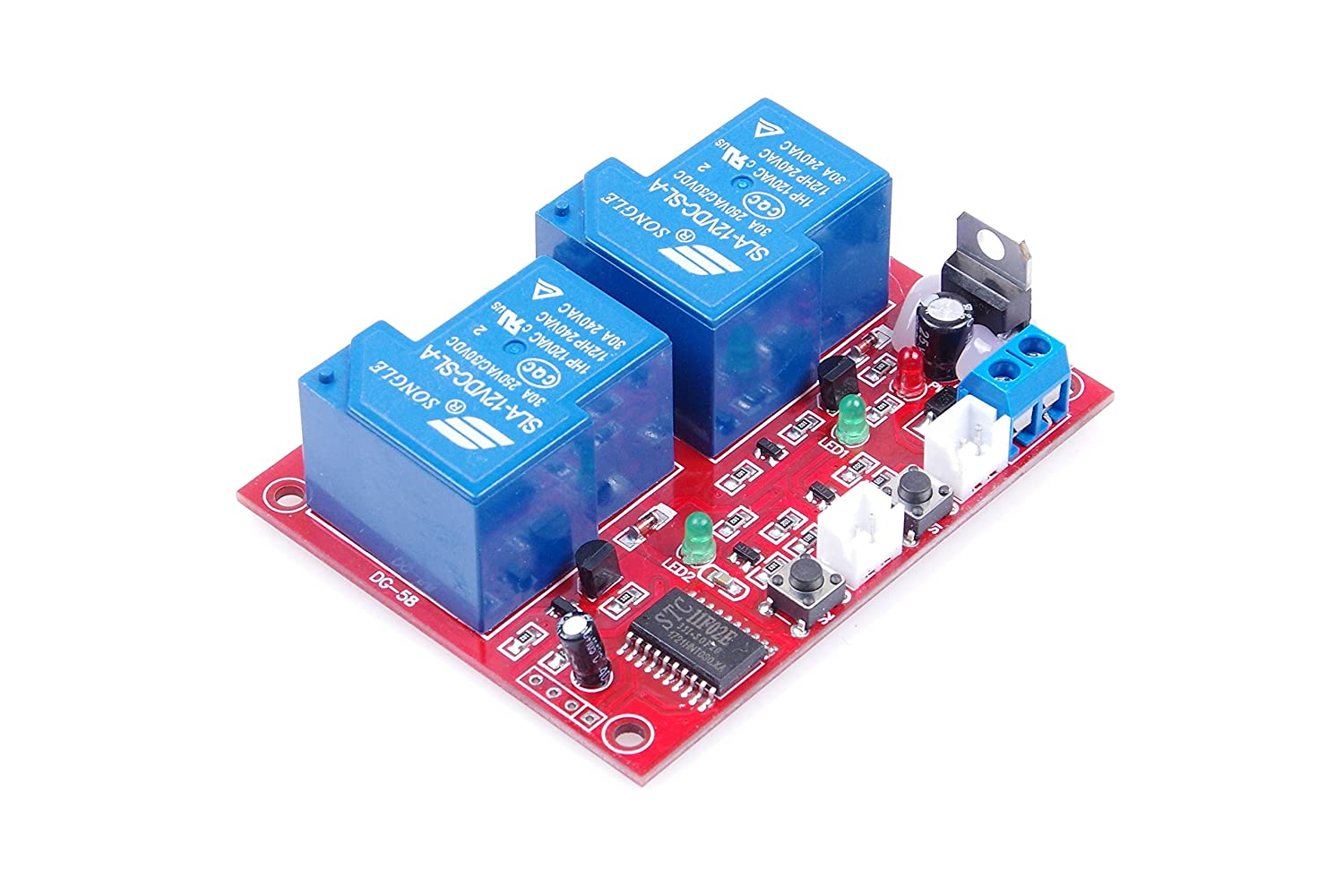 Knacro Dc 12v 2 Channel Self Latching Relay Module One Dpdt 12vdc 30a General Purpose Power Circuit Diagram Button Bistable Switch Start Stop High Level Trigger Home Audio Theater