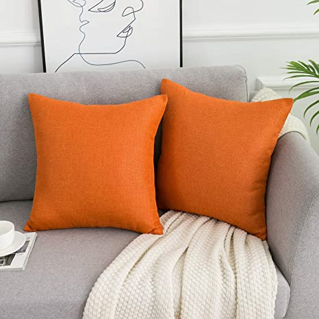WLNUI Orange Pillow Covers Decorative Square Throw Pillow
