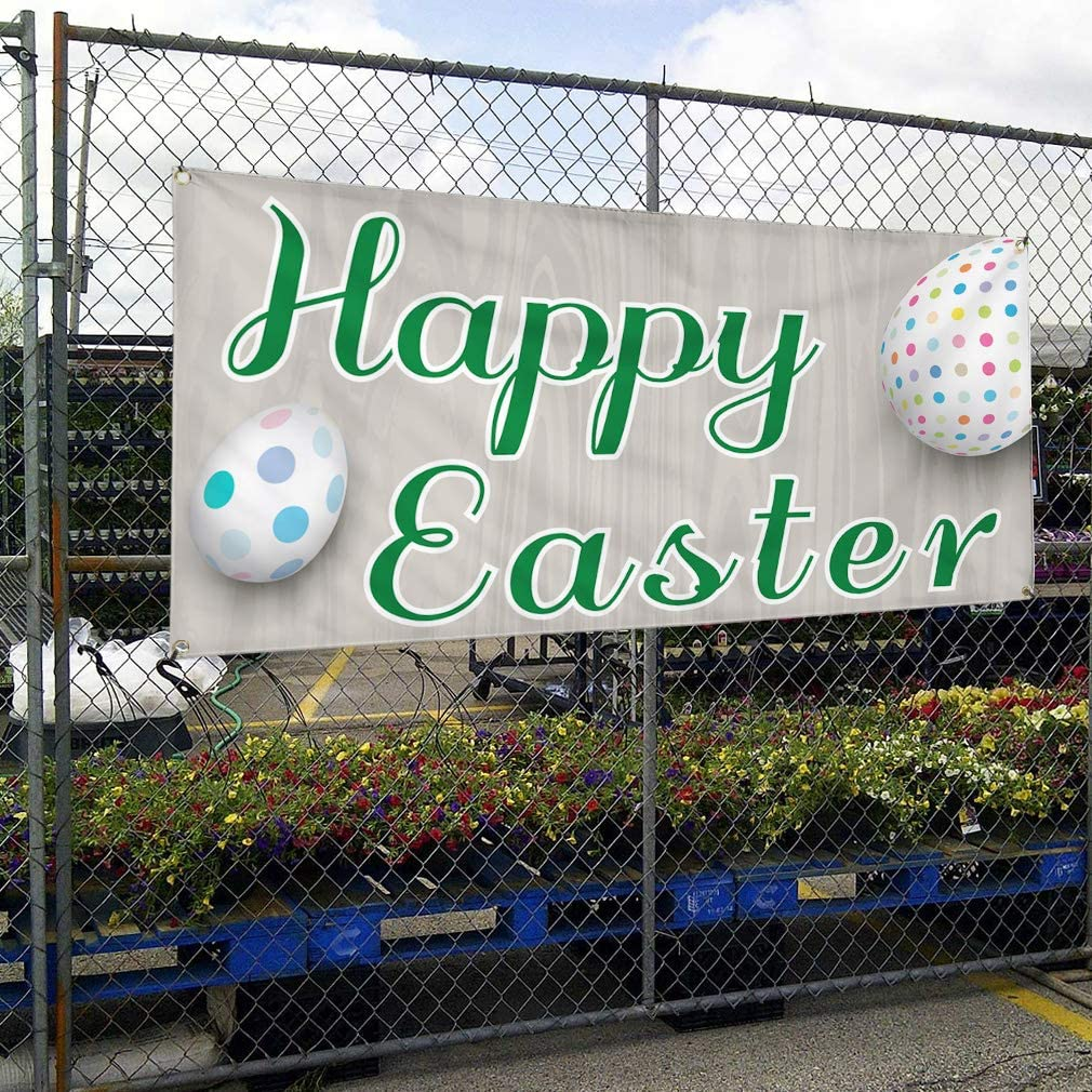Multiple Sizes Available Vinyl Banner Sign Happy Easter #4 Lifestyle Outdoor Marketing Advertising White//Grey 4 Grommets 28inx70in Set of 2