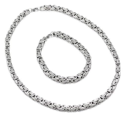 Cadena de acero inoxidable de alta calidad para hombre y hombre, juego de joyas, 8 mm de ancho, pulsera de 21,59 cm, 56 cm, 61 cm, 76 cm de largo
