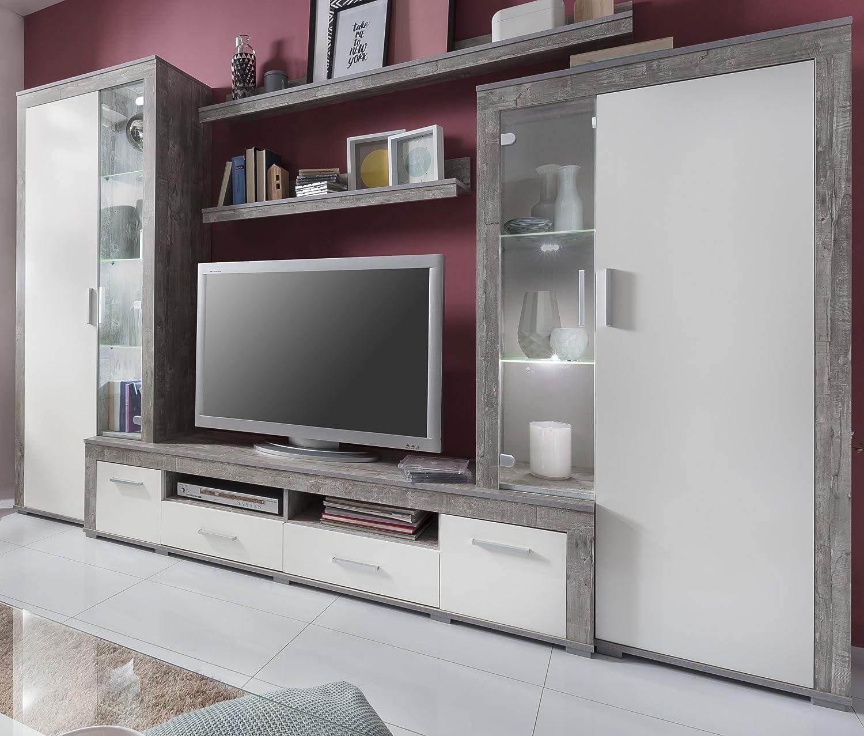 6.6.5.7.2957: Serie AWBW - made in BRD - schöne Anbauwand weiss-grau gescheckt dekor - Wohnzimmerschrank - TV-Wohnwand weiss-grau gescheckt dekor - Wohnschrank