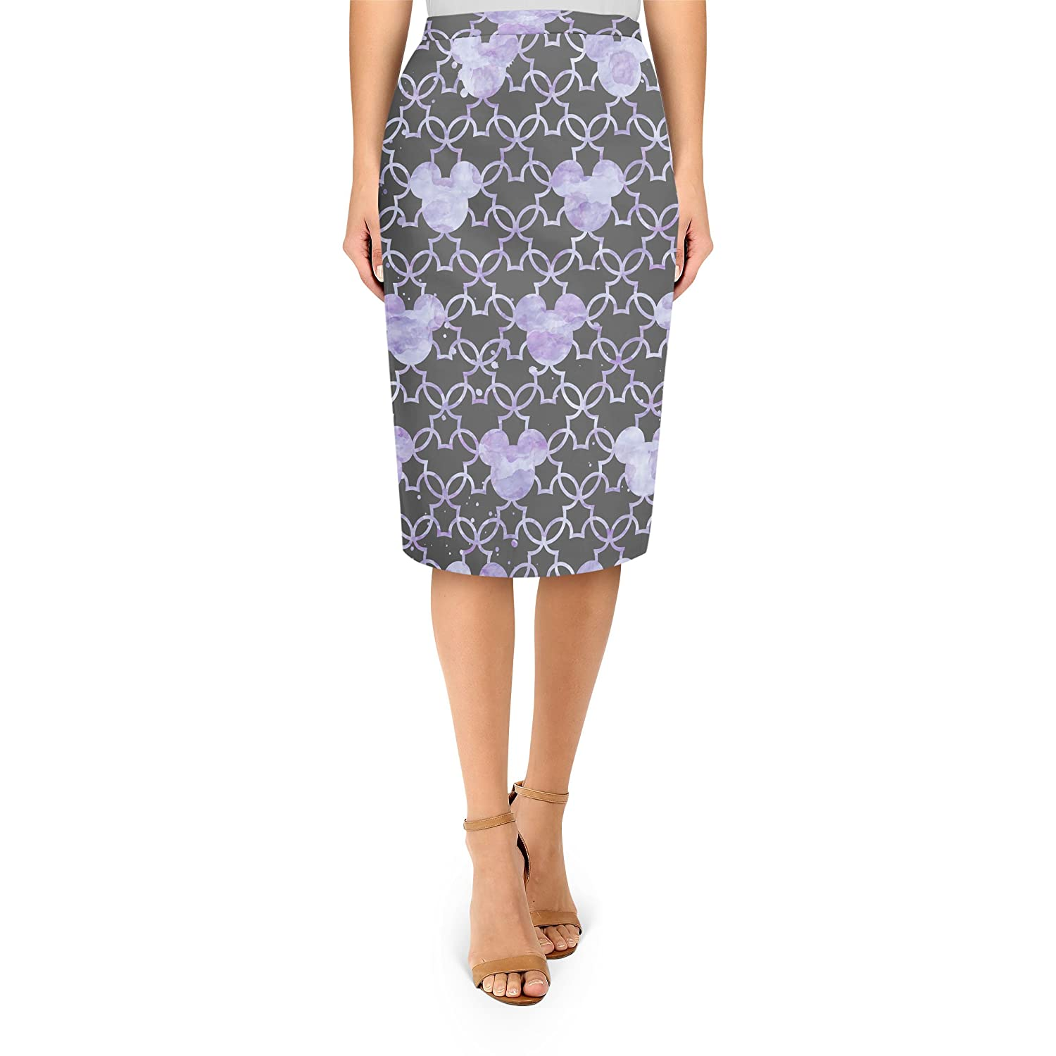 Mickey Watercolor Lilac Purple Midi Pencil Skirt
