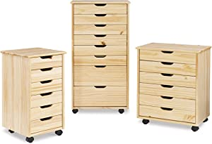 Linon Home Decor Products Corinne Eight Drawer Storage, Natural Rolling Cart