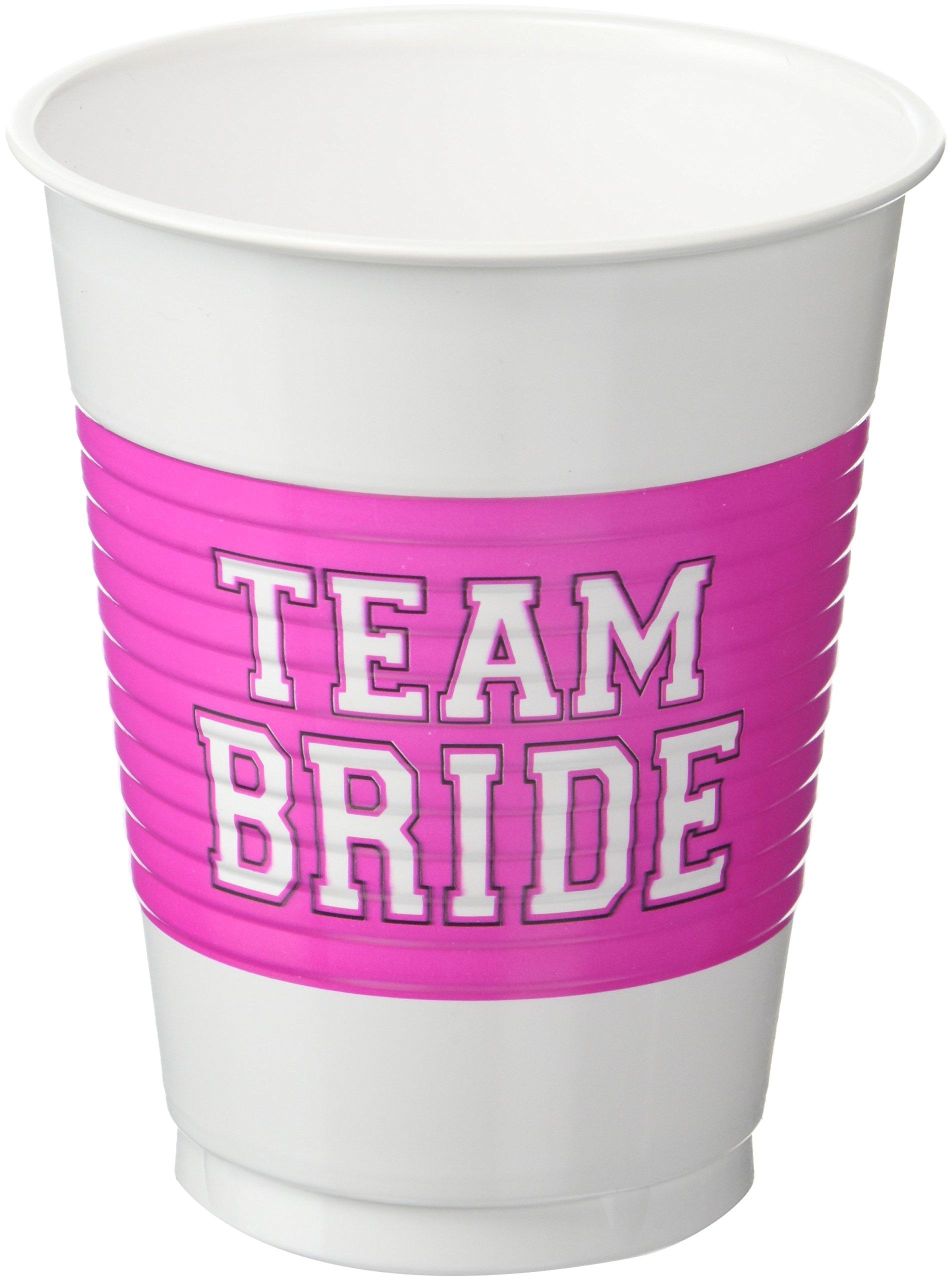Amazon.com: Amscan 25-Piece Team Bride Plastic Cups Set, 16 oz ...