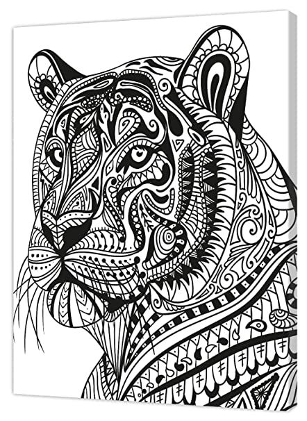 white//black Pintcolor 7809.0/Frame with Printed Canvas Colouring Fir Wood 40/x 50/x 3.5/cm