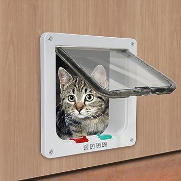 Sookg Puerta de Mascota Puerta de Perro ABS Material Plástico Mala Instalación Puerta de Madera Puerta