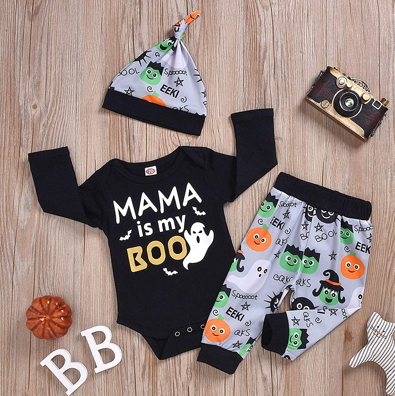 MoryGooder Baby Boy Halloween Outfit Set Funny Mama is My Boo Ghost Bodysuit