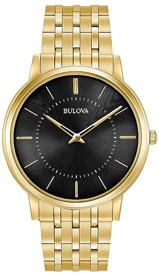 Bulova 97A127 - Reloj de Pulsera de Diseño para Hombre - Ultrafino - Acero Inoxidable - Esfera Negra - Dorado: Amazon.es: Relojes