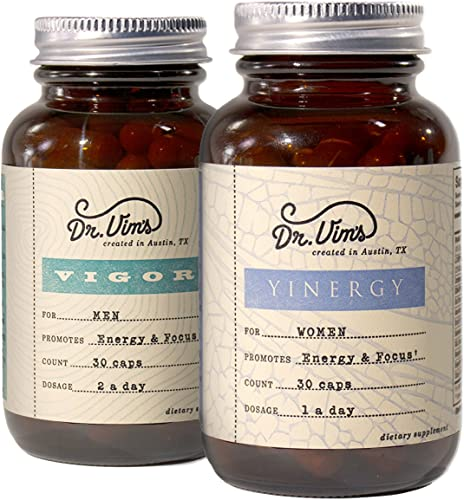 Dr. Vim s Vigor Yinergy His and Hers Adaptogen Formulas for Men Women Increase Energy Focus – Reduce Stress Fatigue
