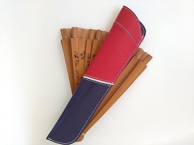 Funda de cuero para abanicos en tonos rojo y azul || Leather ...