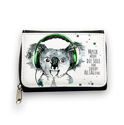 Monedero Cartera oso koala con auriculares y texto en inglés ...