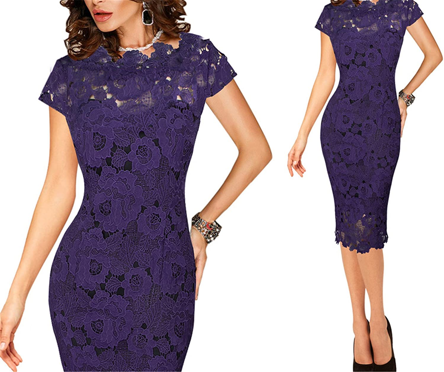 Purple Ivan Johns Dresses Elegant Sexy Crochet Hollow Out Pinup Party Evening Special Occasion Sheath Fitted Vestidos Dress 4272