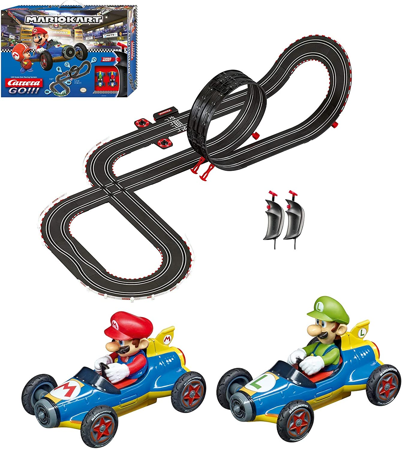 Carrera GO!!! 62492 Mario Kart Mach 8 Electric Powered Slot Car Racing Kids Toy Race Track Set Includes 2 Hand Controllers featuring Mario versus Luigi in 1:43 Scale