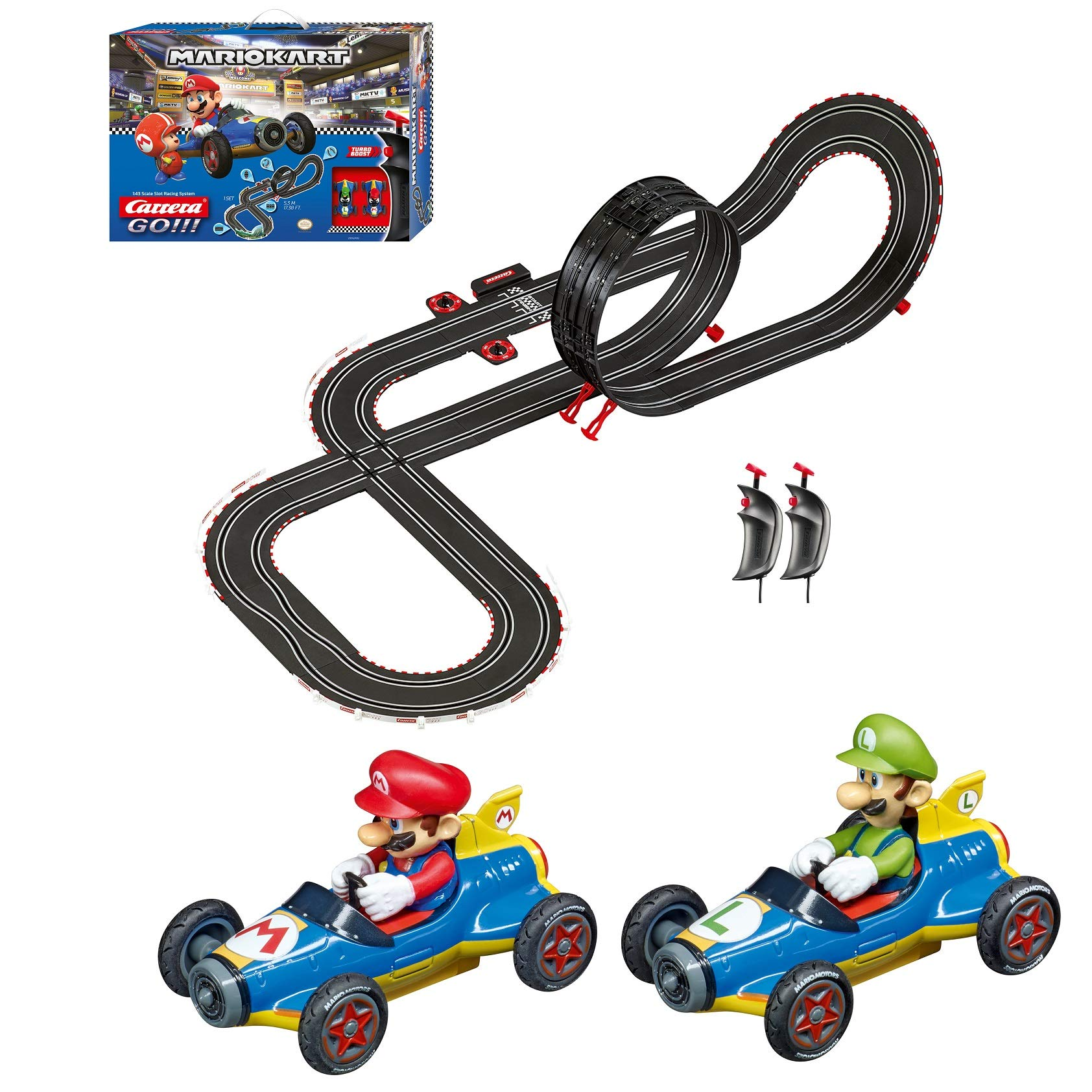 Carrera GO!!! 62492 Mario Kart Mach 8 Electric Slot Car Racing Track Set 1:43 Scale feat. Mario and Luigi by Carrera