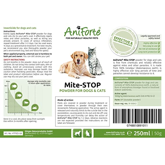 Mite-STOP Powder by Aniforte   Disinfect Cats & Dogs with Proper Flea  Treatment   250ml (50g) Diatomaceous Earth