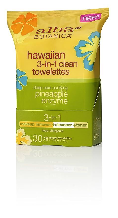 Hawaiian 3-en-1 Clean Toallitas, 30 Toallitas húmedas naturales - Alba Botanica