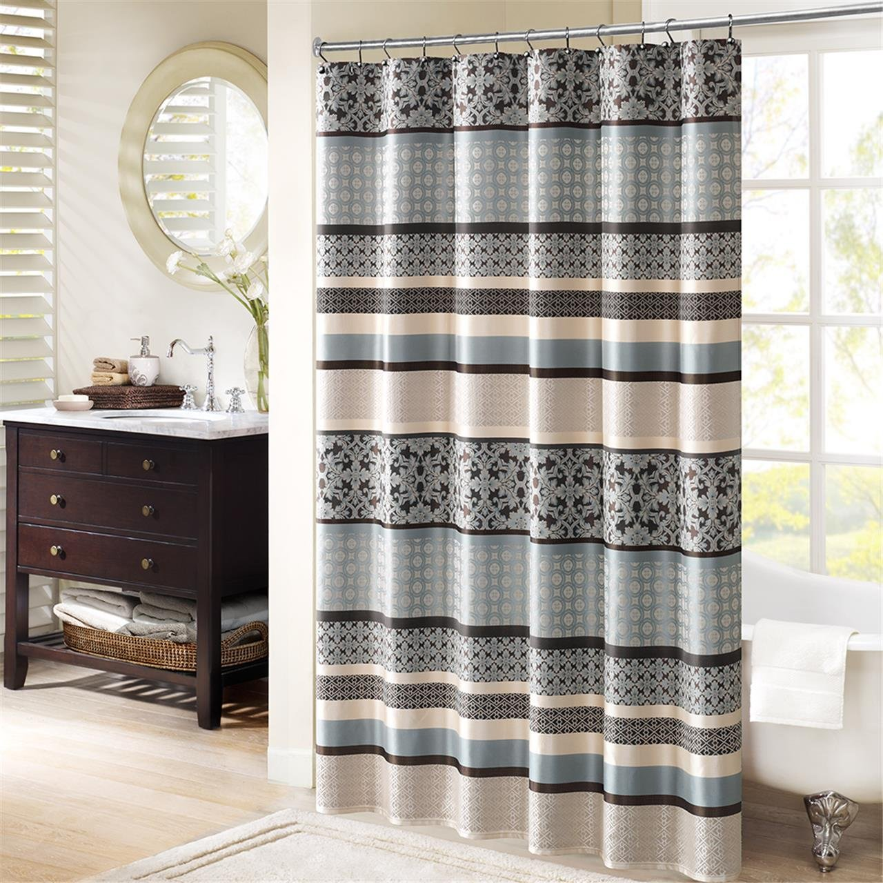 Madison Park Princeton Jacquard Shower Curtain Blue 72x72