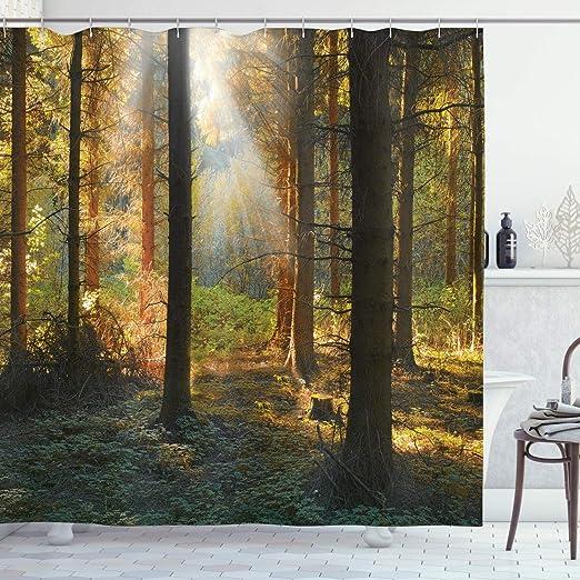 Autumn Forest Shadows Fog Waterproof Shower Curtain Bath Rugs Polyester Fabric