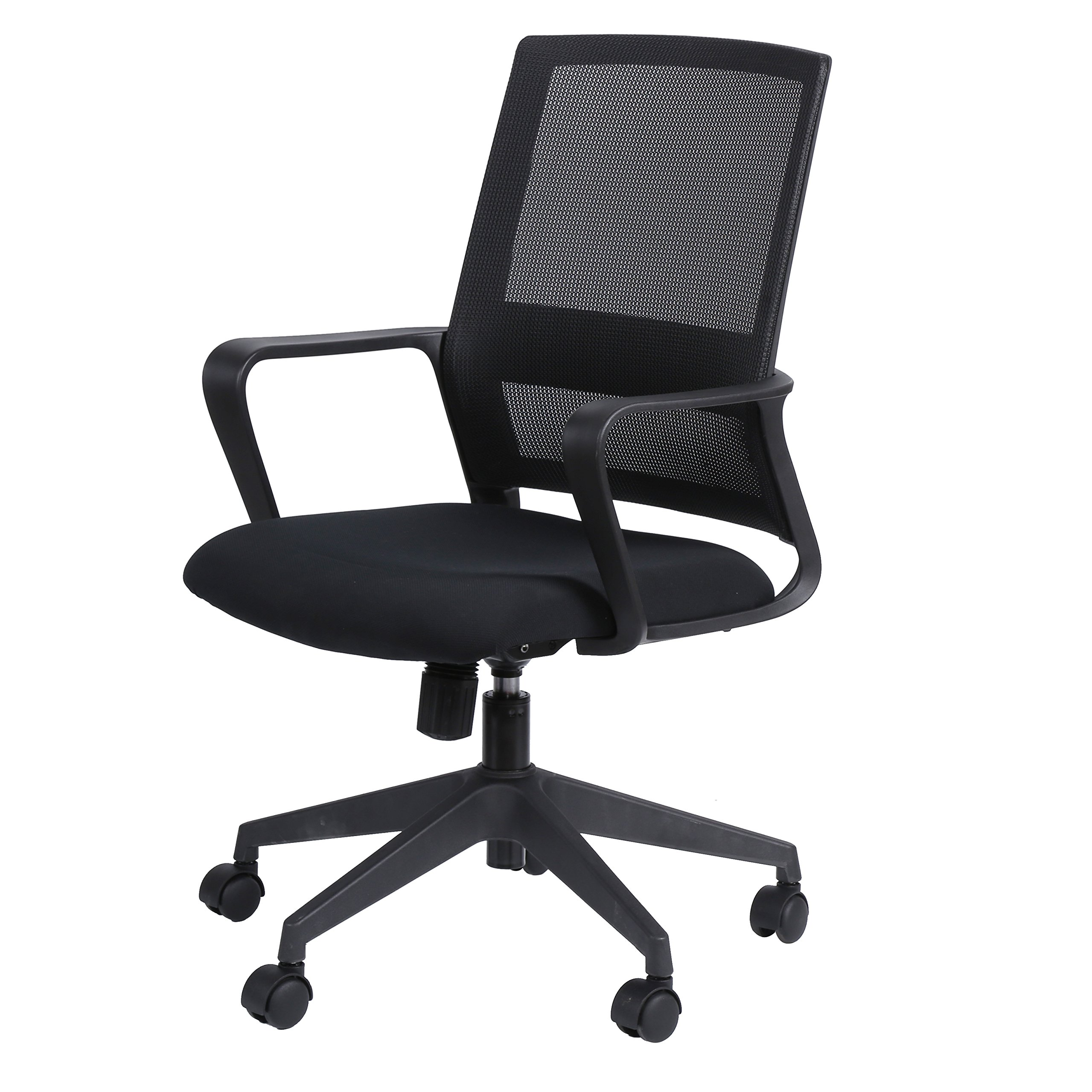 KELLIGO Home Office Task Mesh Chair Adjustable Mid-back Chair Swivel With 2 Arms BLACK